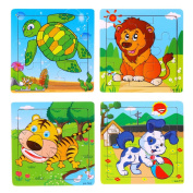 4 PCS Cute Small 9 Piece Wood Jigsaw Puzzle For Baby, E