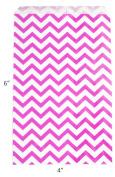 Novel Box Pink Chevron Print Paper Gift Candy Jewellery Merchandise Bag Bundle 10cm X 15cm (100 Count) + Custom NB Pouch