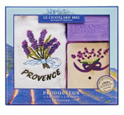 Savon de Marseille Bath Soap Bar, Ceramic Dish and Provence Tea Towel Gift Set
