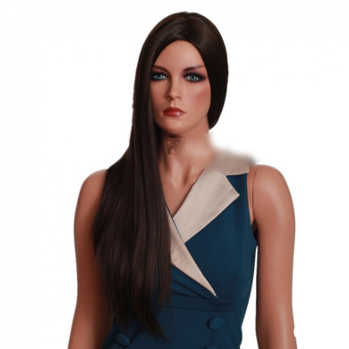 extra long dark brown straight cental part womens wig