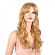 Sexy Long Light Blonde Curly Wig Big Waves Wig Side Swept Fringe Bang Women Hair Wigs B