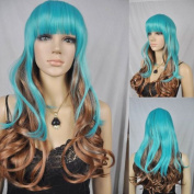 Winson Blue Brown Mix Curly Wavy Cosplay Costume Anime Synthetic hair full wig