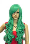 Winson Bright Green Cosplay Party Full Synthetic Wavy Ramp Bang hair wig
