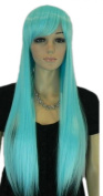 Winson Fashion Hot Light Blue Ramp Bangs Straight Long Full Synthetic Wig