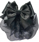 Women Black Bow Hair French Clip Snood Net Bun Cover Barrette