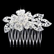 Women Wedding Bridal Rhinestone Hairpin Silver Flower Claw Comb Ornaments Accessory