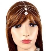 Hair Accessory ~White Flower Goldtone Head Chain Hair Band