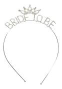 "Silver Tone Metal Rhinestone ""Bride to Be"" Wedding Headband Bridal Accessories Bachelorette"