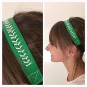 Fabulicious Green White Stitch Leather Headband© - Stitching Seam Sports softball baseball fast pitch