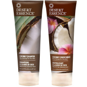 Desert Essence All Natural Organic Coconut Moisturising Shampoo and Conditioner For Dry or Frizzy Hair With Aloe Vera, Jojoba, Witch Hazel and Shea Butter, 240ml each