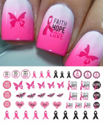 Breast Cancer Awareness Water Slide Nail Art Decals Set #3 - Salon Quality 14cm X 7.6cm Sheet!