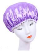 Moolecole Women's Waterproof Double Layer Shower Cap Elastic Band Shower Hat Spa Bathing Cap Purple