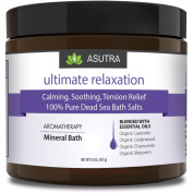 """""""ULTIMATE RELAXATION"""" - Calming, Soothing, Tension Relief - 100% PURE DEAD SEA BATH SALTS / Healing Aromatherapy / Organic Essential Oils of Lavender, Cedarwood, Chamomile & Marjoram - 470ml"""