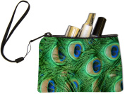 Rikki KnightTM Green Peacock Feathers Design Keys Coins Cards Cosmetic Mini Clutch Wristlet