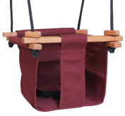 Baby KEA Swing, Burgandy Indoor or Outdoor Wood, Rope, Canvas Swing For Baby and Toddler 6-36 Months