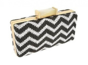 Box Clutch Purse Chevron Pattern in Woven Straw Gold Plated