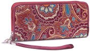 Borgasets Artist Circle Large Wallet Chinese Authentic Brocade Zipper Fashion Wallet