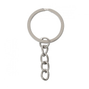 100 Silver Tone Key Chains with Key Ring 5.1 x 2.4cm