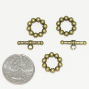 5 sets x Toggle Clasp Connector Beads 15mm Antique Bronze Tone for Bracelet Necklace Jewellery findings #MCZ466