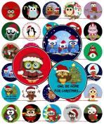 60 Precut 2.5cm CHRISTMAS CUTE OWLS Bottle Cap Images A
