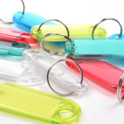 vanki Pack of 50 Assorted Colour Coded Key Tag with Label Window Ring Holder with LCD Cleaner Stylus