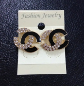 Women's Fashion Jewellery Metal and Crystal Black and White Diamond Earring/ear Stued