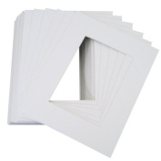 Mat Board Centre, Pack of 10 Premier High Quality Crescent Acid-Free Pre-Cut 16x20 White Picture Mats for 11x14 Photos