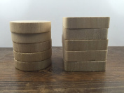 ImpressionU Natural Unfinished Wood Blocks -5pc Square & 5pc Round -Mount and Handle For DIY Rubber Stamps