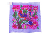 Pretty Hill Tribe Embeoidered Purple Big Birds Hmong Textile Fair Trade