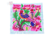 Pretty Hill Tribe Embeoidered Blue Big Birds Hmong Textile Fair Trade