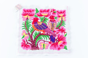 Pretty Hill Tribe Embeoidered White Big Birds Hmong Textile Fair Trade