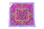 Hmong Embroidered Hill Tribe Fashionable Style Purple Birds Fabric