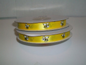 Yellow Bee Satin Ribbon Printed 1cm x 25 Yards