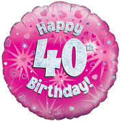 Oaktree 46cm Happy 40th Birthday Pink Holographic Balloon (One Size)