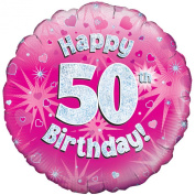 Oaktree 46cm Happy 50th Birthday Pink Holographic Balloon (One Size)