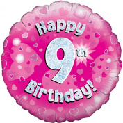 Oaktree 46cm Happy 9th Birthday Pink Holographic Balloon (One Size)