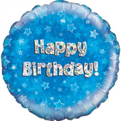 Oaktree 46cm Happy Birthday Blue Holographic Balloon (One Size)
