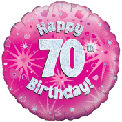 Oaktree 46cm Happy 70th Birthday Pink Holographic Balloon (One Size)