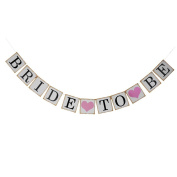 AllHeartDesires 1 Set Pink Heart Bride To Be Wedding Bunting Banner Hen Party Decoration Photo Props