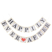AllHeartDesires 1 Set Pink Heart Happily Ever After Wedding Bunting Banner Bridal Party Decoration Photo Props