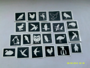 10 x bird themed stencils for etching on glass (mixed) penguin swan geese eagle