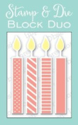 Large Candle Block Unmounted Rubber Stamp and Die Set for Scrapbooking