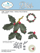 Elizabeth Craft Designs Garden Notes Steel Die - Holiday Holly & Berries 1088