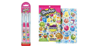 Shopkins 2 pack Manual Toothbrushes with Bonus Sticker Books - over 1200 stickers