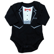 Holiday Time Infant Boys Black Tuxedo Creeper Long Sleeve Shirt Bodysuit