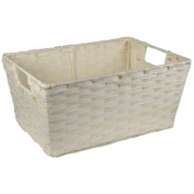 Small Rectangular Paper Fibre with In-Handle Basket - Ivory