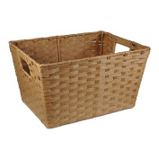 Small Rectangular Paper Fibre with In-Handle Basket - Camel Tan