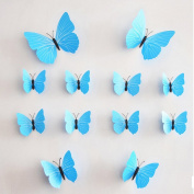 MLMSZ 12PCS 3D Monochrome Butterfly Wall Stickers with Adhesive Art Decal Satin Paper Butterflies Home DIY Decor Removable