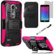 LG POWER CASE, Phonelicious® For LG POWER L22C (Straight talk) / LG LEON C40 (TMOBILE / METRO PCS) Xtreme Heavy Duty Hybrid Armour Dual Layer Rhino Kickstand Belt Holster Clip Combo Rugged Case Tuff + LCD Clear Screen Phone Protector Combo & Pho ..