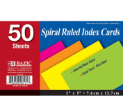 BAZIC 50 Ct. Spiral Bound 7.6cm X 13cm Ruled Coloured Index Card, Case of 36